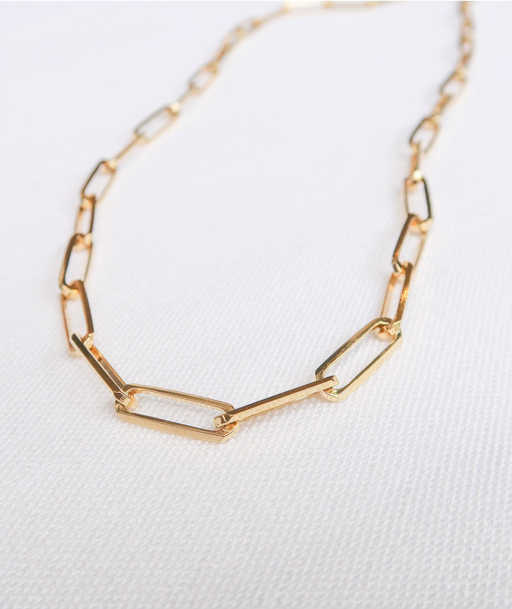 14k yellow gold xl paper clip link trendy fashion chain