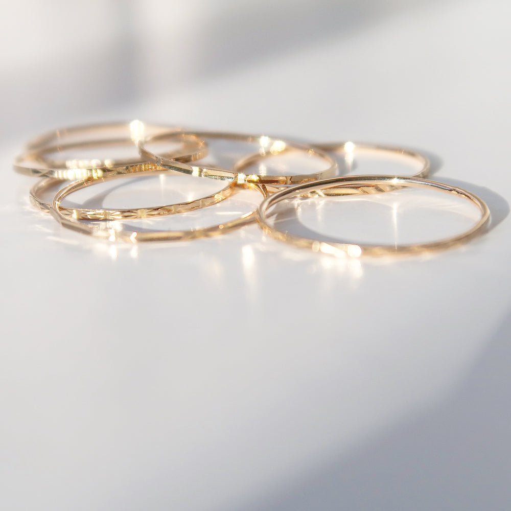 14k yellow gold thin dainty rings
