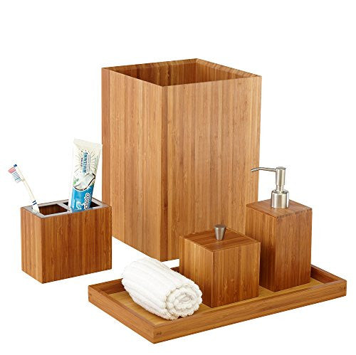 5-piece Bamboo Bath And Vanity Luxury Bathroom Essentials Accessory Set