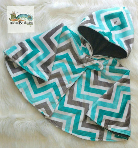 Carseat Poncho - Semi Custom - Teal Chevron
