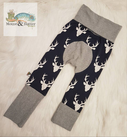"Grow with me pants in ""Navy Bucks"" print"