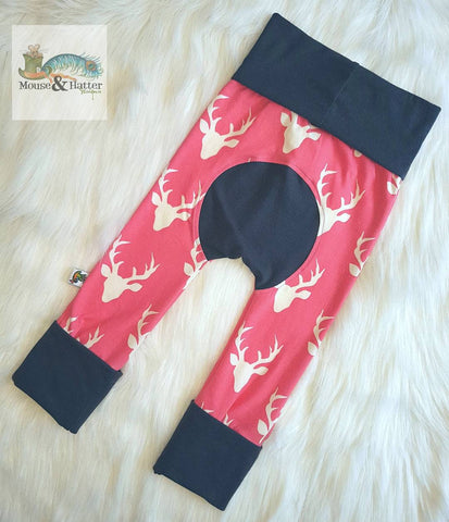 "Grow with me pants in ""Pink Bucks"" print Size Large"