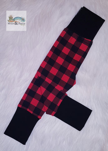 "Grow with me pants without bum circle ""Red Plaid"""