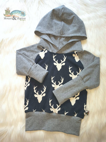"Grow with me hoodie in ""Navy Bucks"" print"