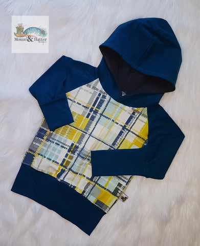 "0-12m Grow with me hoodie in ""Teal plaid"" print"