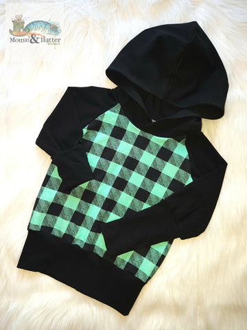 "Grow with me hoodie in ""Mint Plaid"" print"