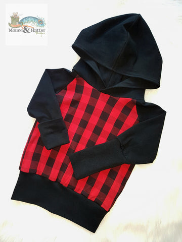 "Grow with me hoodie in ""Red Plaid"" print"