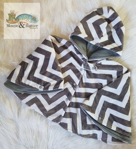 Carseat Poncho - Semi Custom - Grey Chevron