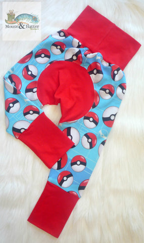 "Grow with me pants in ""Pokeballs"" print Size Large"