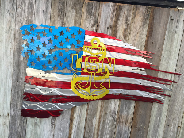 USN Anchor on Tattered American Flag
