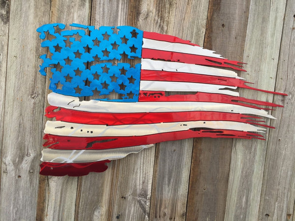 c77198a1ad27 Tattered and Torn American Flag metal art - Advanced Metal Art