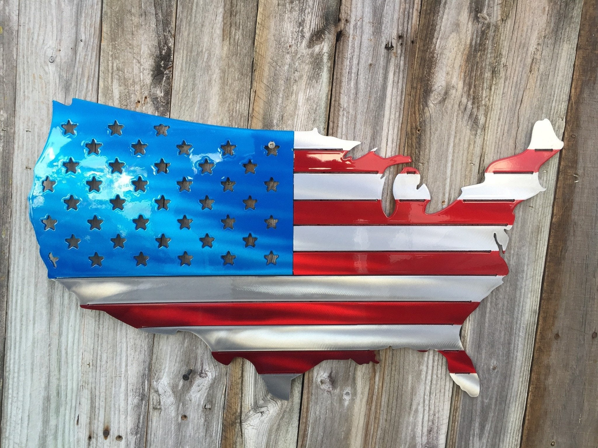 Usa Map As An American Flag Metal Art Advanced Metal Art - American-flag-us-map