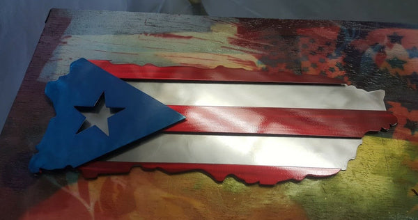 Puerto Rican Metal Art Or Wood Flag Cut To Look Like