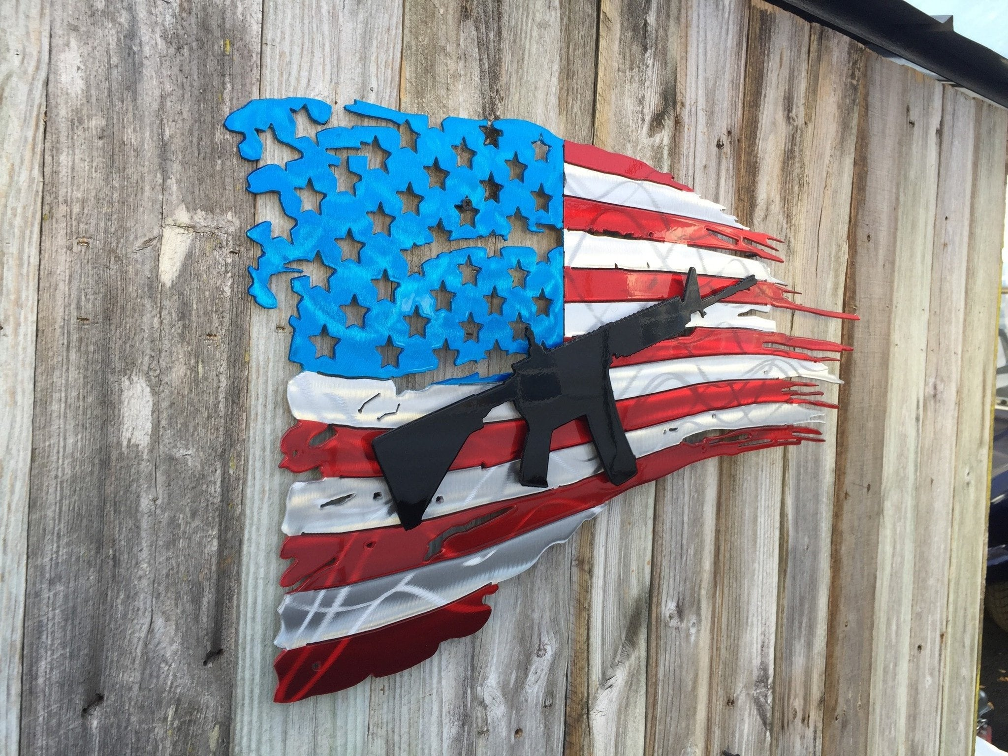 Tattered American Flag With Ar15 Rifle As Second Layer Advanced