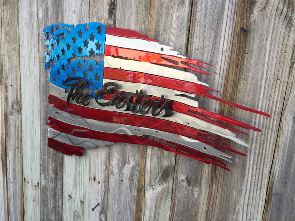 Tattered American Flag With Name As Second Layer