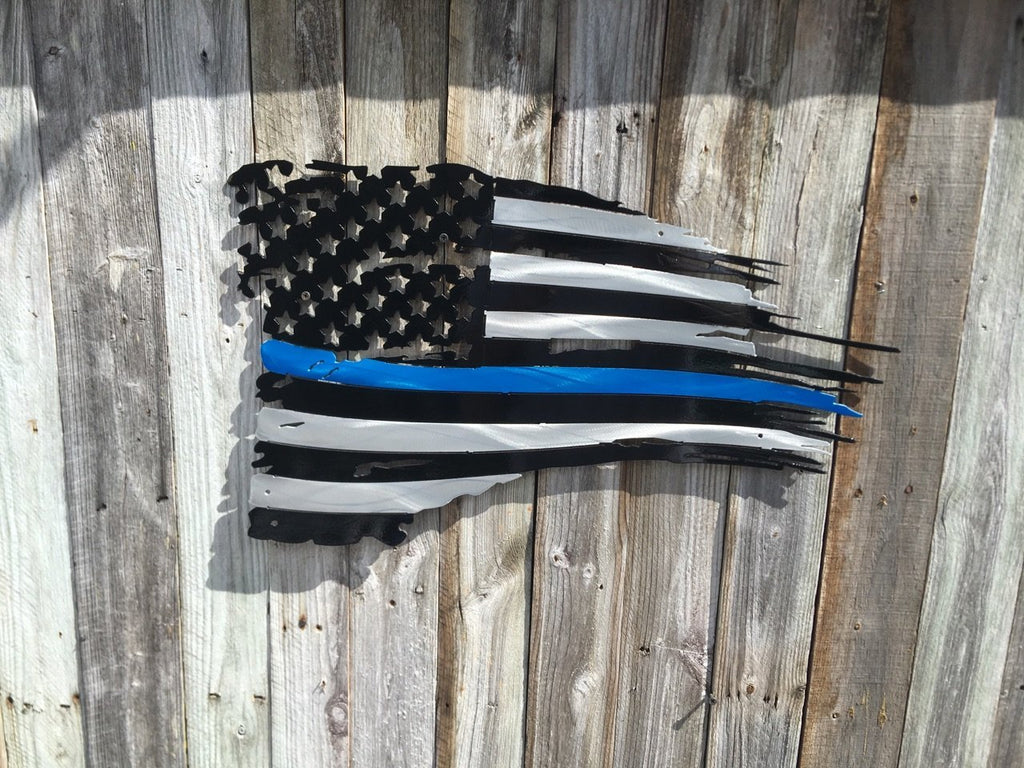 Thin Blue Line First Responders Tattered Torn American