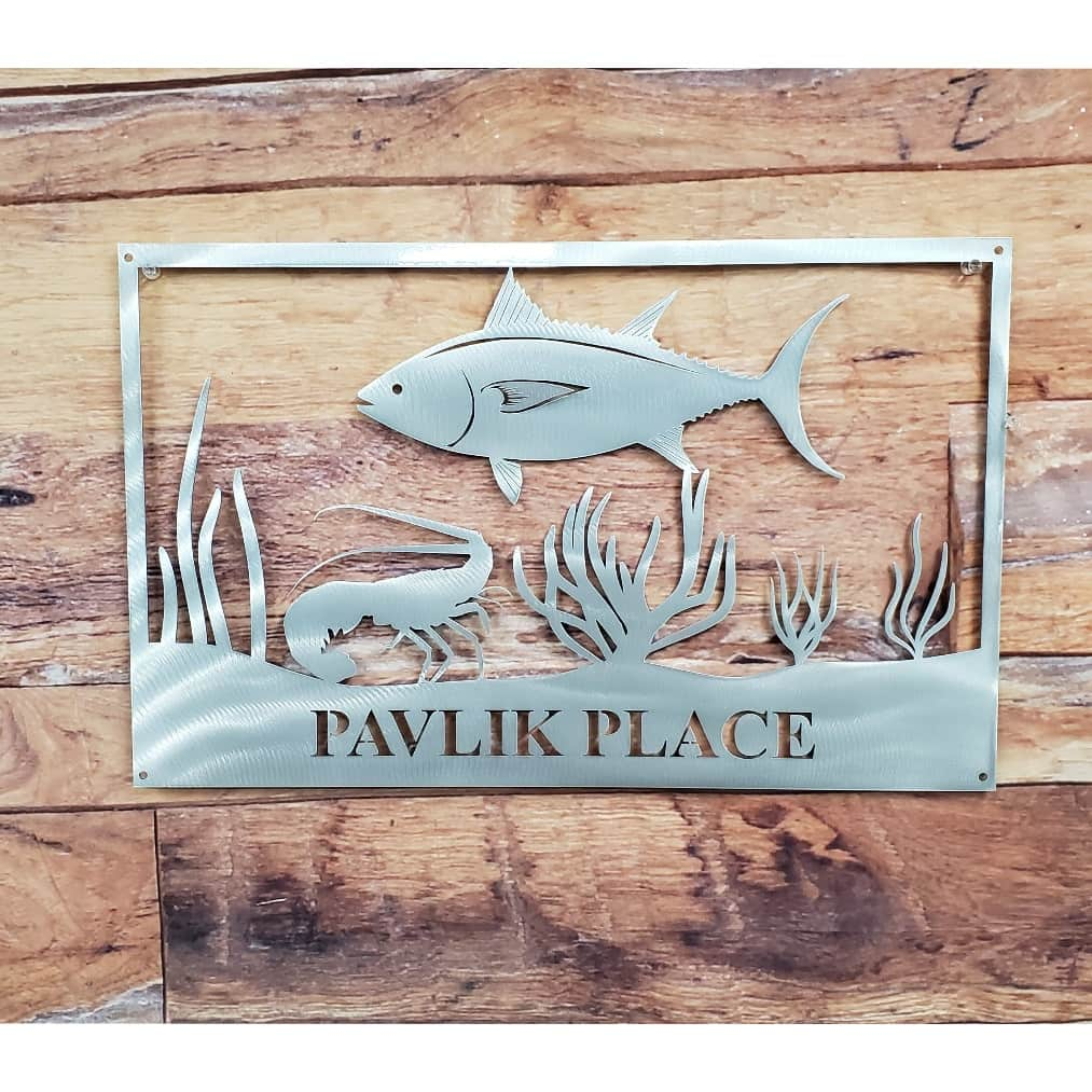 Fish Scene With Lobster And Tuna And Name Metal Art Wall