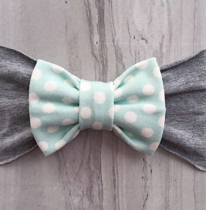 Mint Green with White Polka Dots