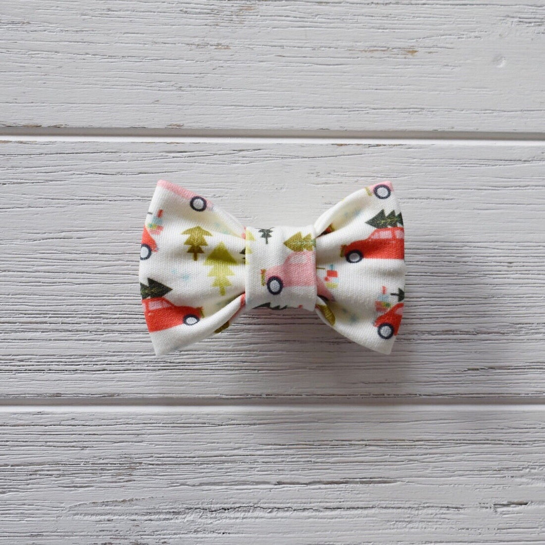 Vintage Cars with Christmas Trees Bow Tie
