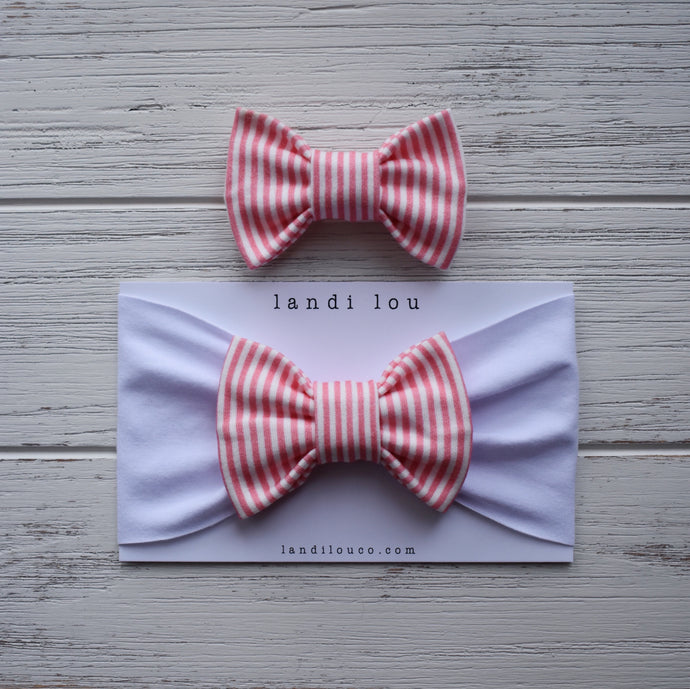 Pink and White Stripe Headband & Bow Tie Set