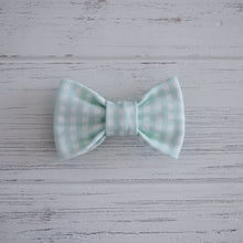 Mint Gingham Bow Tie