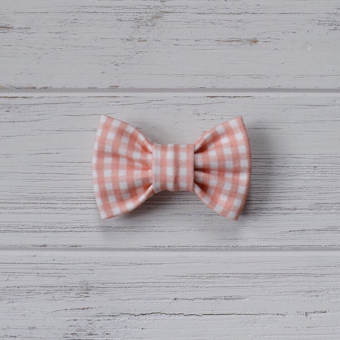 Coral Gingham Bow Tie