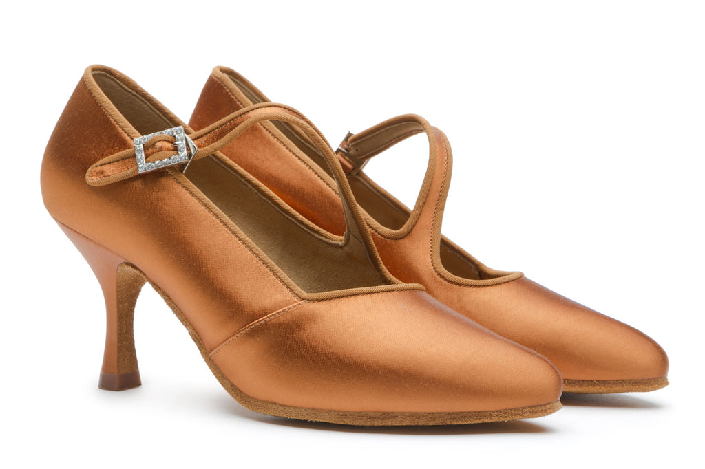 BD Dance International Standard Dance Shoes for Women, Model 149, Heel EH10, Dark Tan