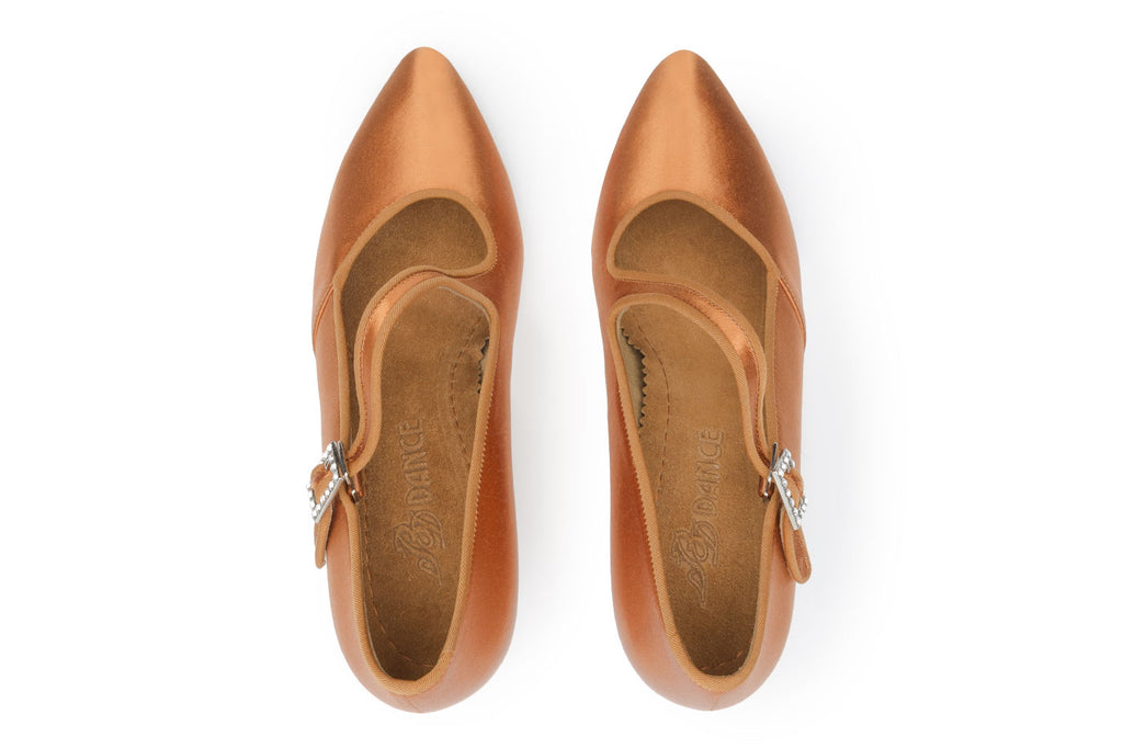BD Dance International Standard Dance Shoes for Women, Model 149, Dark Tan