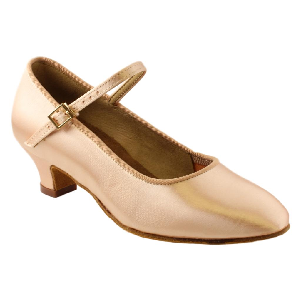 BD Dance 501 Standard Shoes for Girls, Light Tan Satin, Heel CHILD I