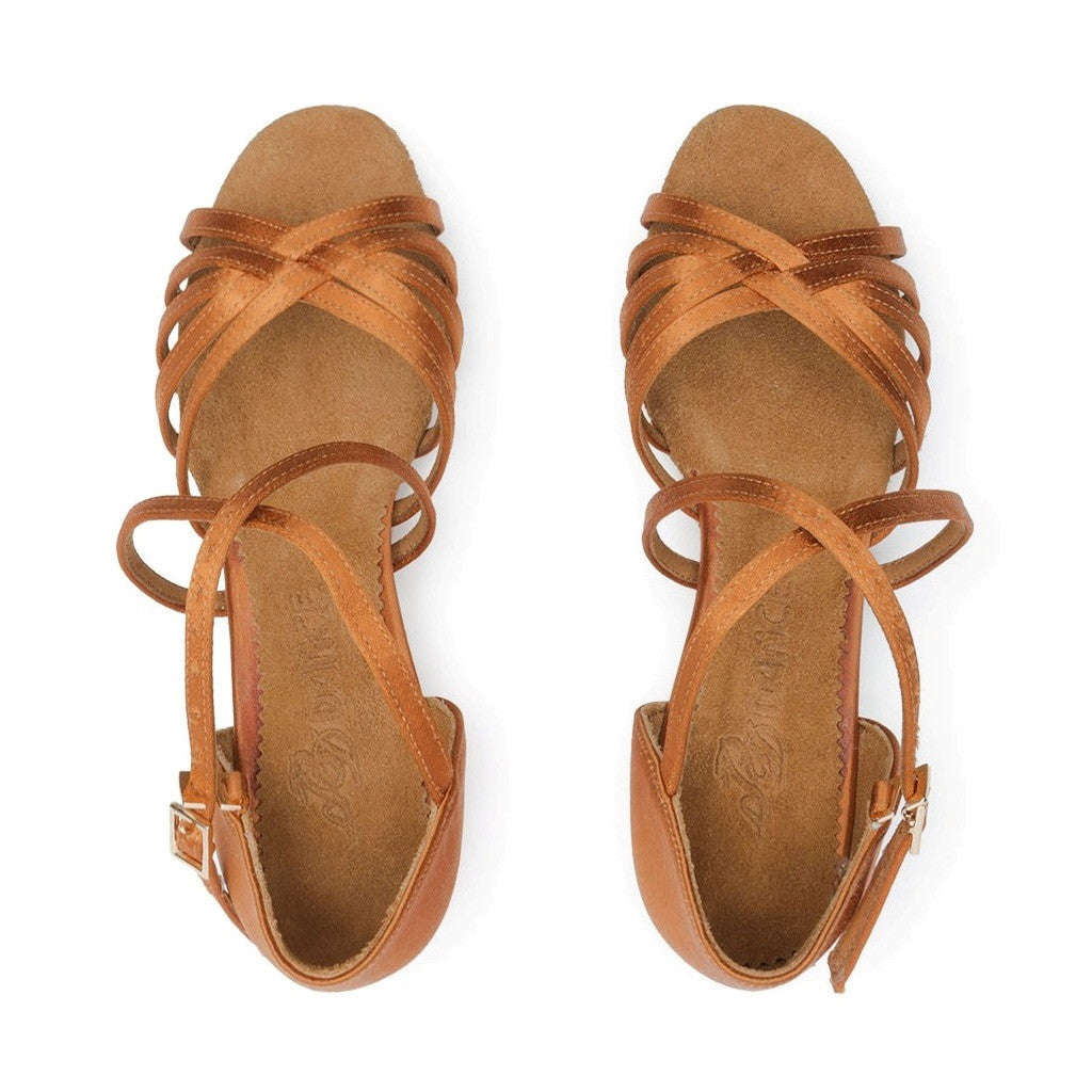 BD Dance Latin-Rhythm Dance Shoes for Girls, Model 603, Leather, Tan, Heel CHILD II