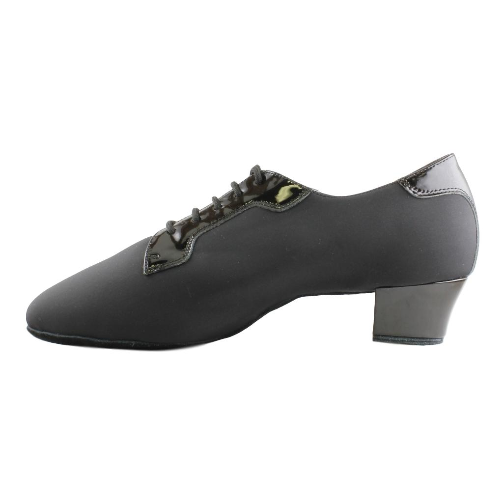 EF Latin Dance Shoes for Men, Model 503, Black Lycra and Patern Leather