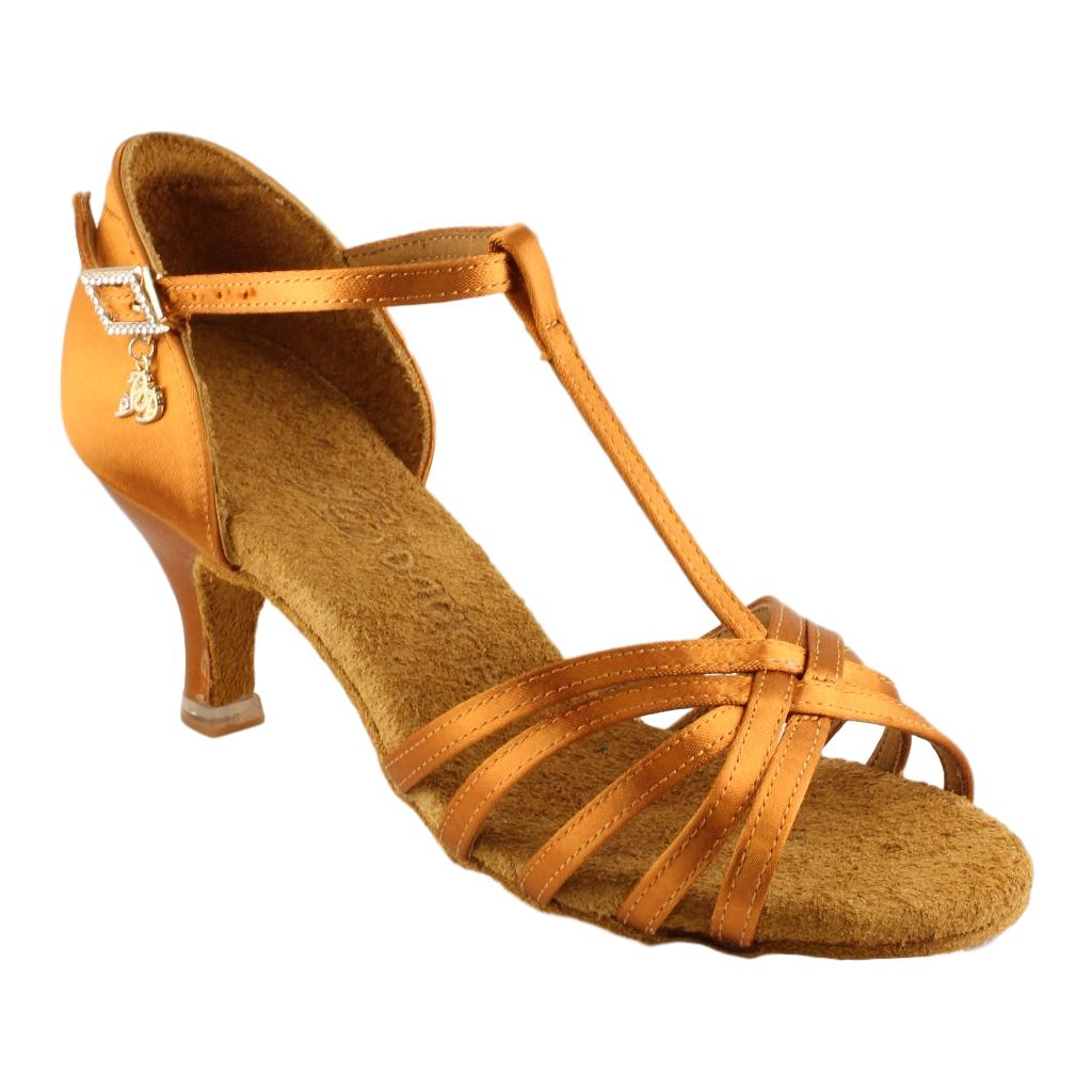 BD Dance Latin Dance Shoes for Women, Model 217, Heel EH10, Dark Tan