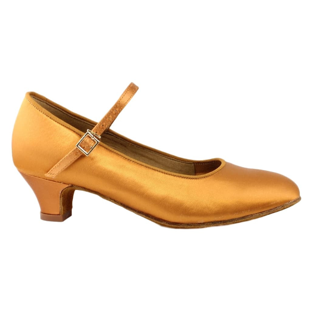 BD Dance 501 Standard Shoes for Girls, Tan Satin, Heel CHILD I
