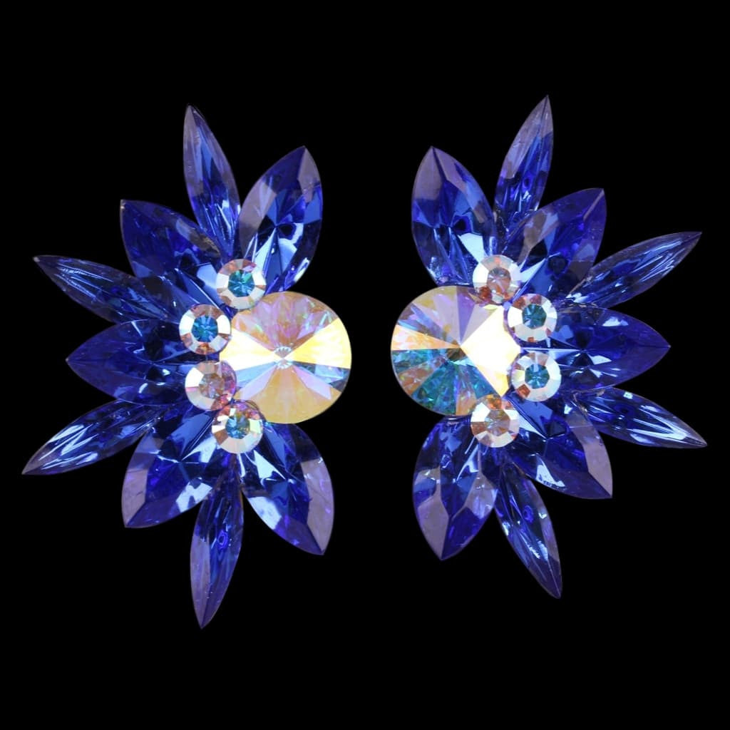 Euro Glam Earrings, Clip-On, Swarovski Sapphire - Crystal AB