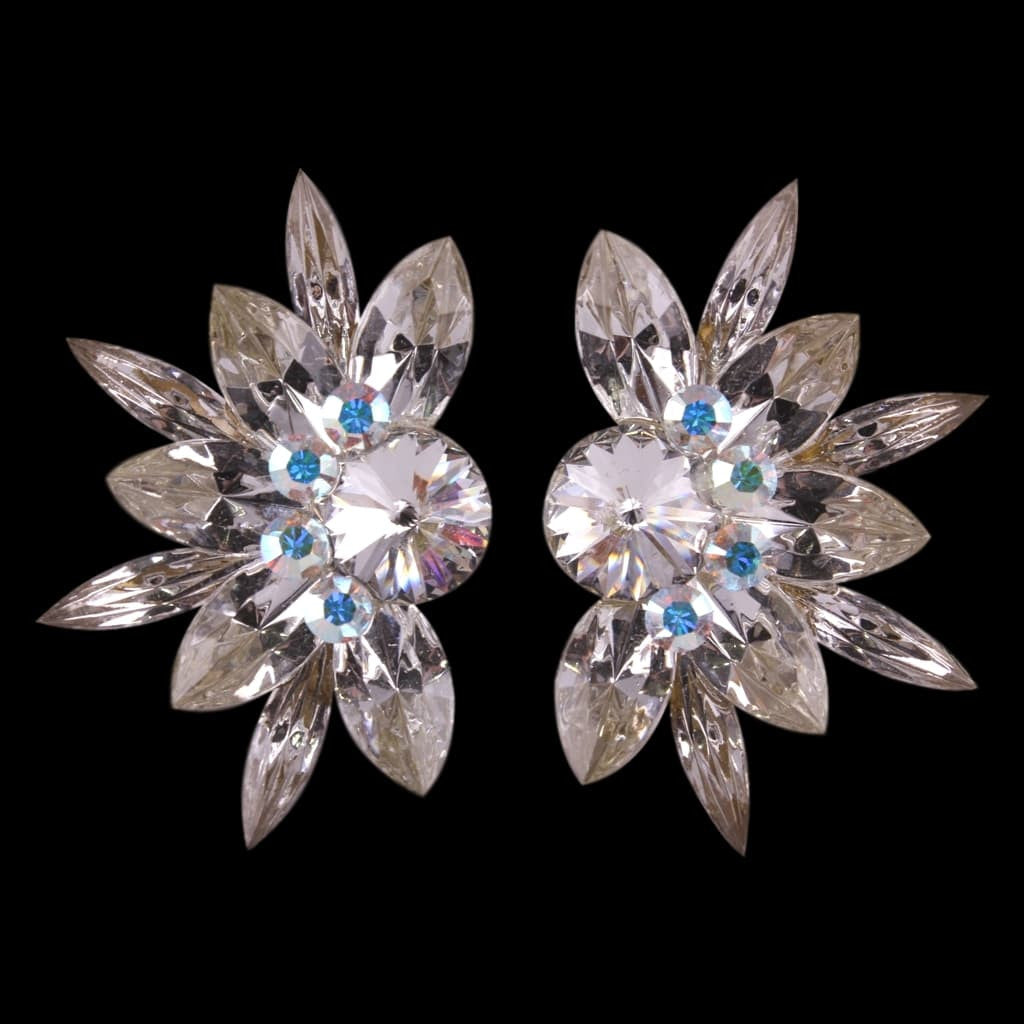 Euro Glam Earrings, Clip-On or Pierced French Clip, Swarovski Crystal - Crystal AB