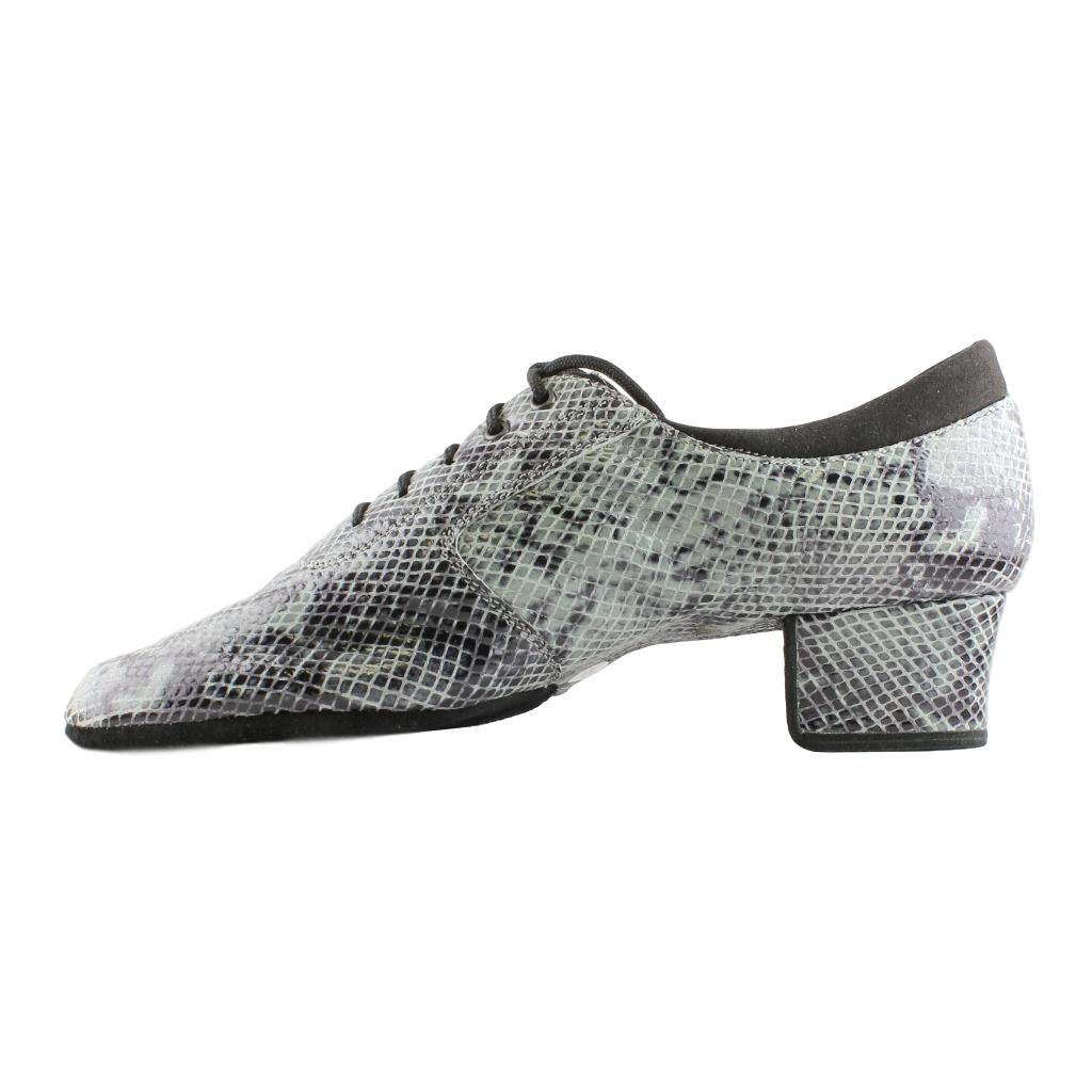 Practice Dance Shoes for Women, Model 1205 Flexi, Leather, Gray Snake Rhombus