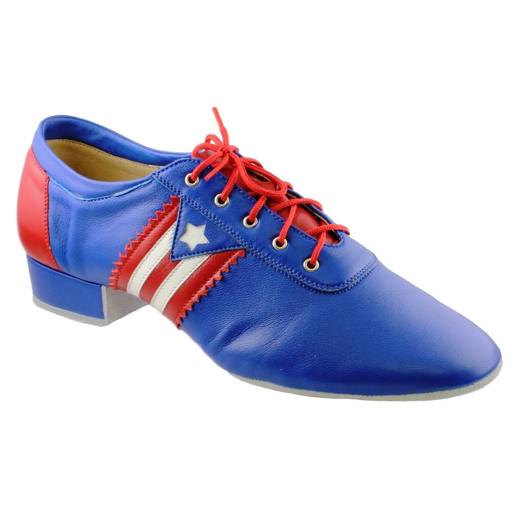 Galex Salsa Dance Shoes for Men, Model Flexi M, Blue Leather