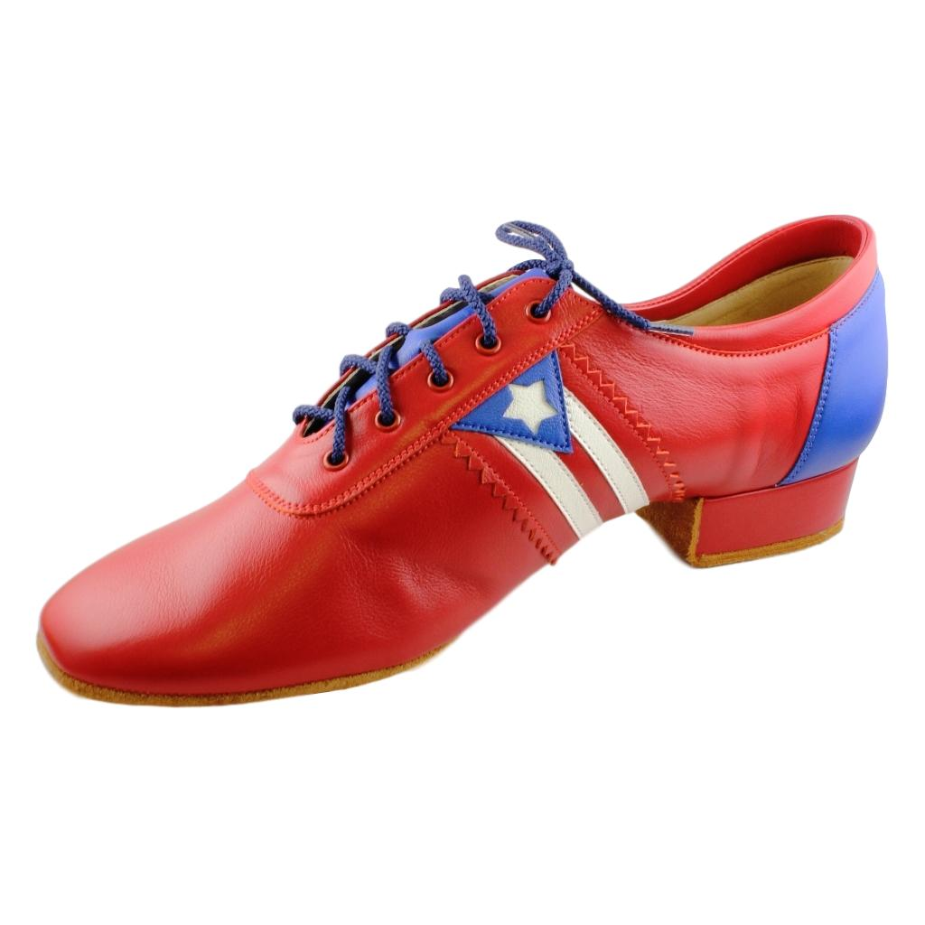 Galex Salsa Dance Shoes for Men, Model Flexi M, Red Leather