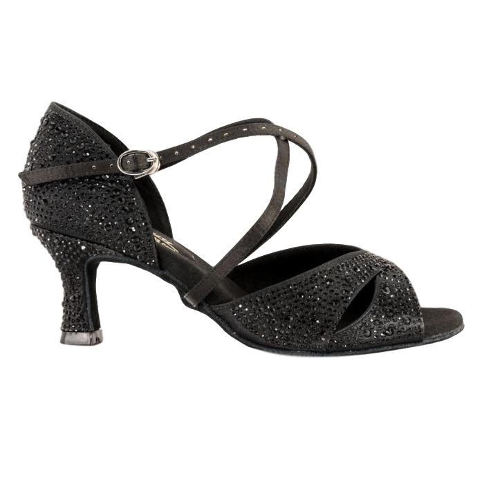 GFranco Latin Dance Shoes for Women, Model Gem, Black, Heel 2.5""