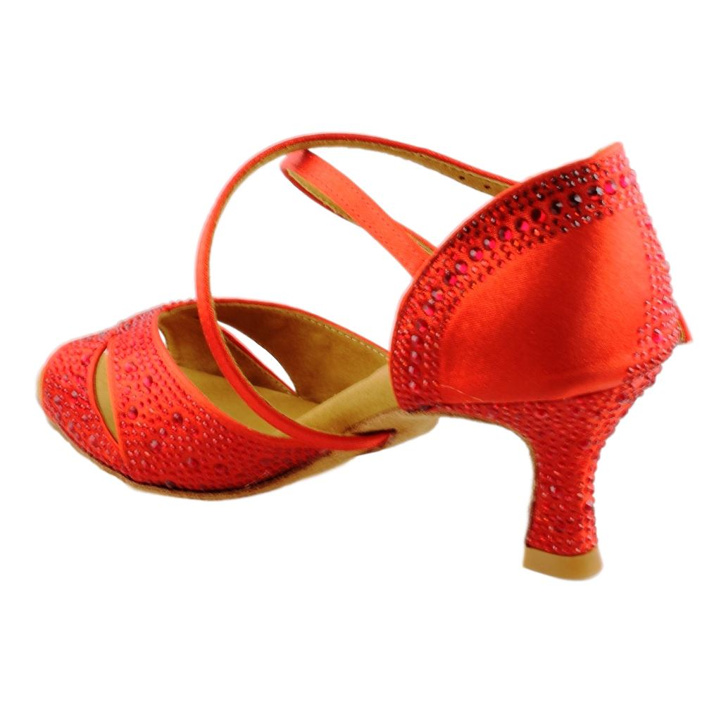 GFranco Latin Dance Shoes for Women, Model Gem, Ruby Red, Heel 2.5""