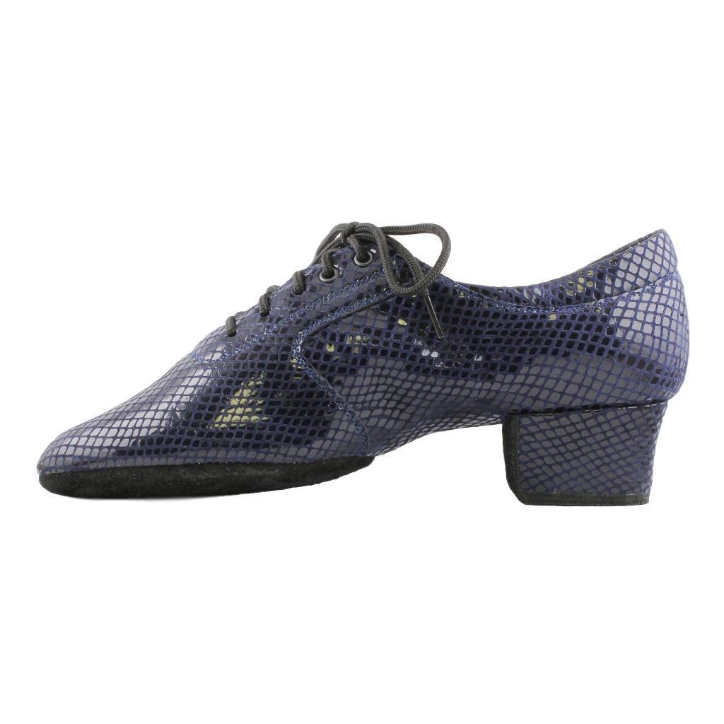 Galex Practice Dance Shoes for Women, Model 1205 Flexi, Satin Dark Blue Rhomb