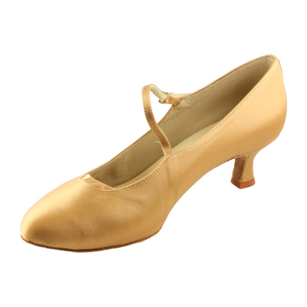 International Standard Dance Shoes for Women, Model 6679 Karolina, Heel 5cm Flare, Tan
