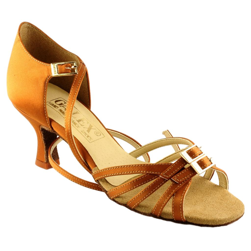 "Galex Latin Dance Shoes for Women, Model 2210 Leron, Tan Satin, Heel 2"" Flare"