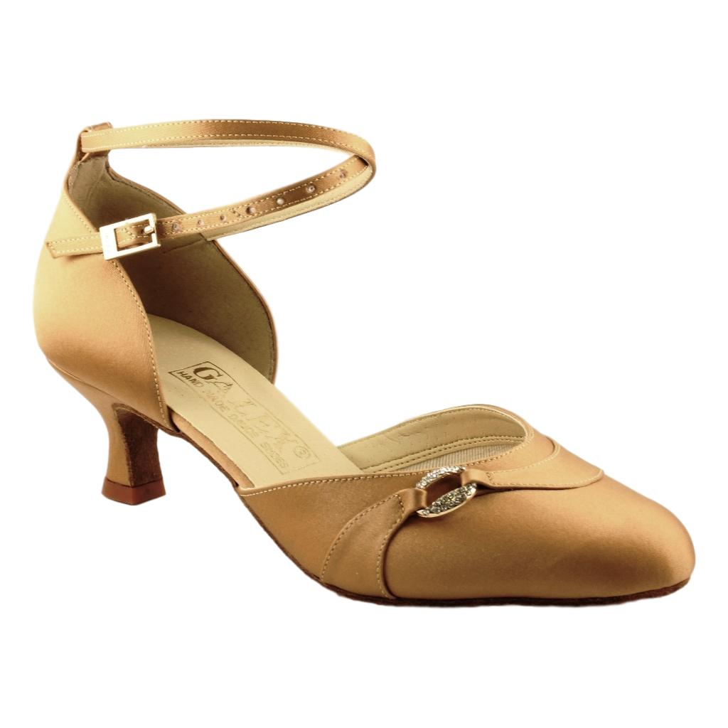 Galex Sofia 6679 Smooth Dance Shoes for Women, Tan Satin, Heel 1 3/4""