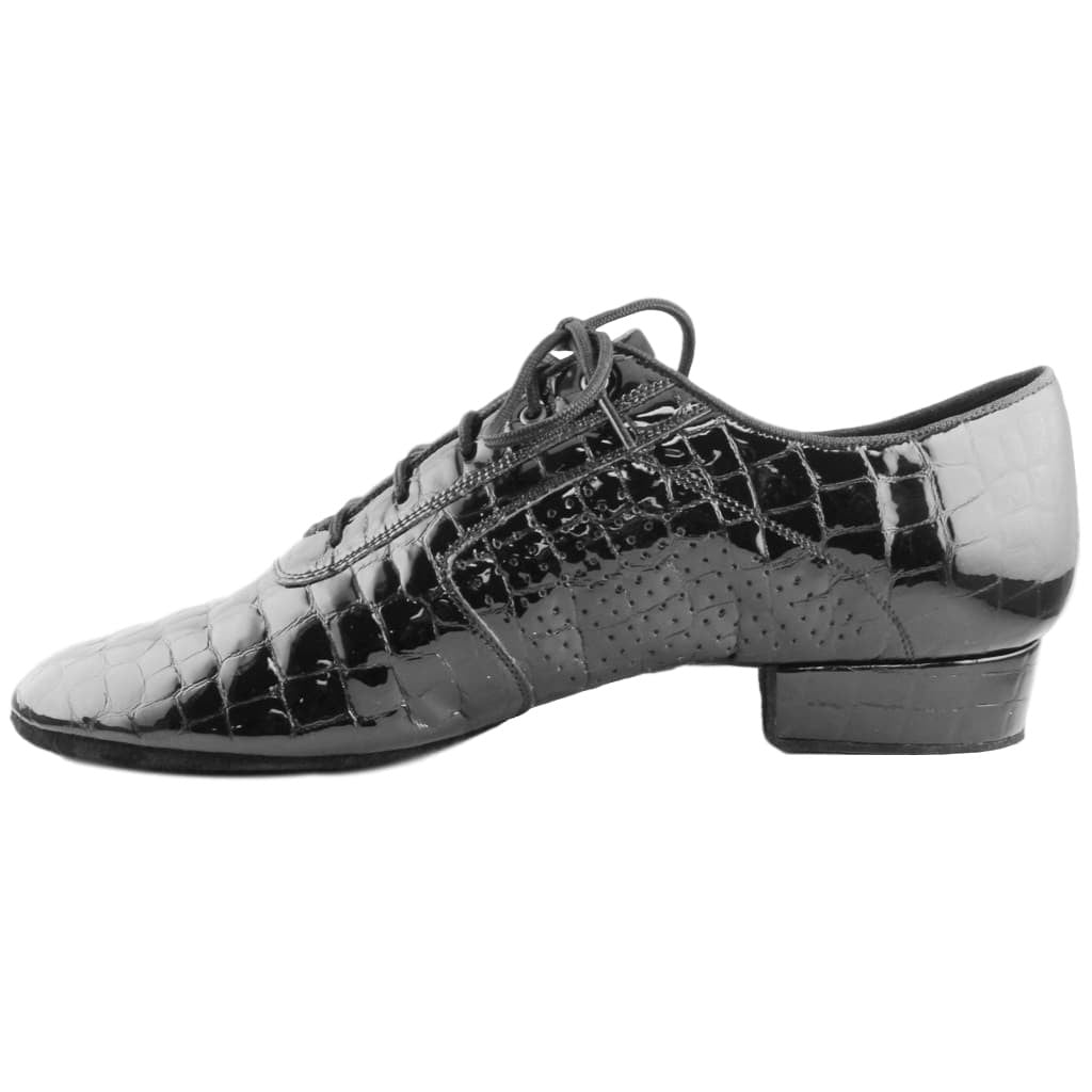 Galex Smooth Dance Shoes for Men, Model 1109 Oxford Flexi M, Crocodile Patent Leather