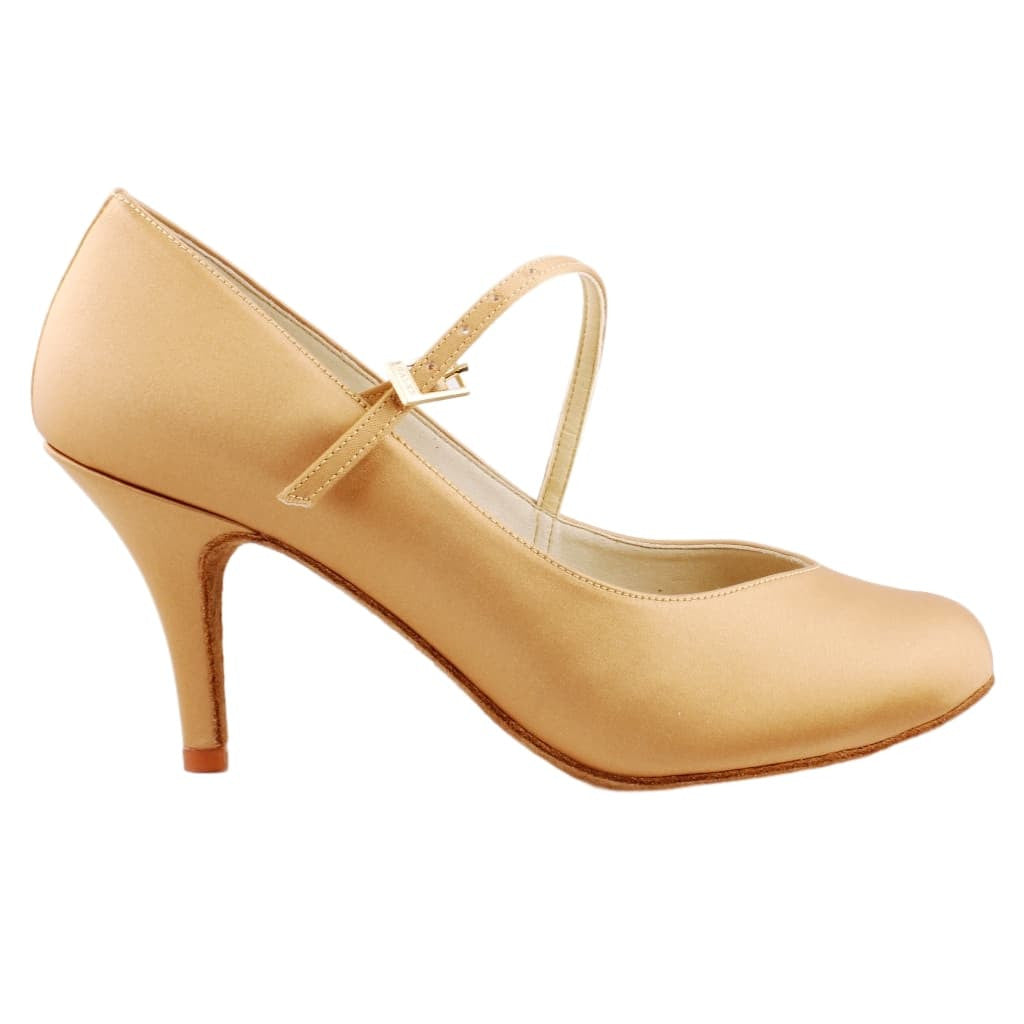 "Galex Inga 6682 Standard Dance Shoes for Women, Tan Satin, Heel: 2 1/4"" Slim"