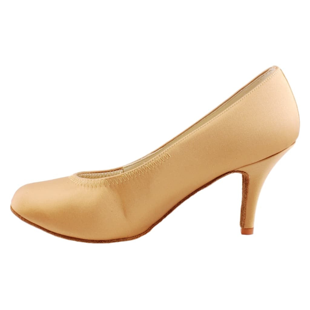 "Galex Natalie 6620 Standard Dance Shoes for Women, Tan Satin, Heel: 2 1/4"" Slim"