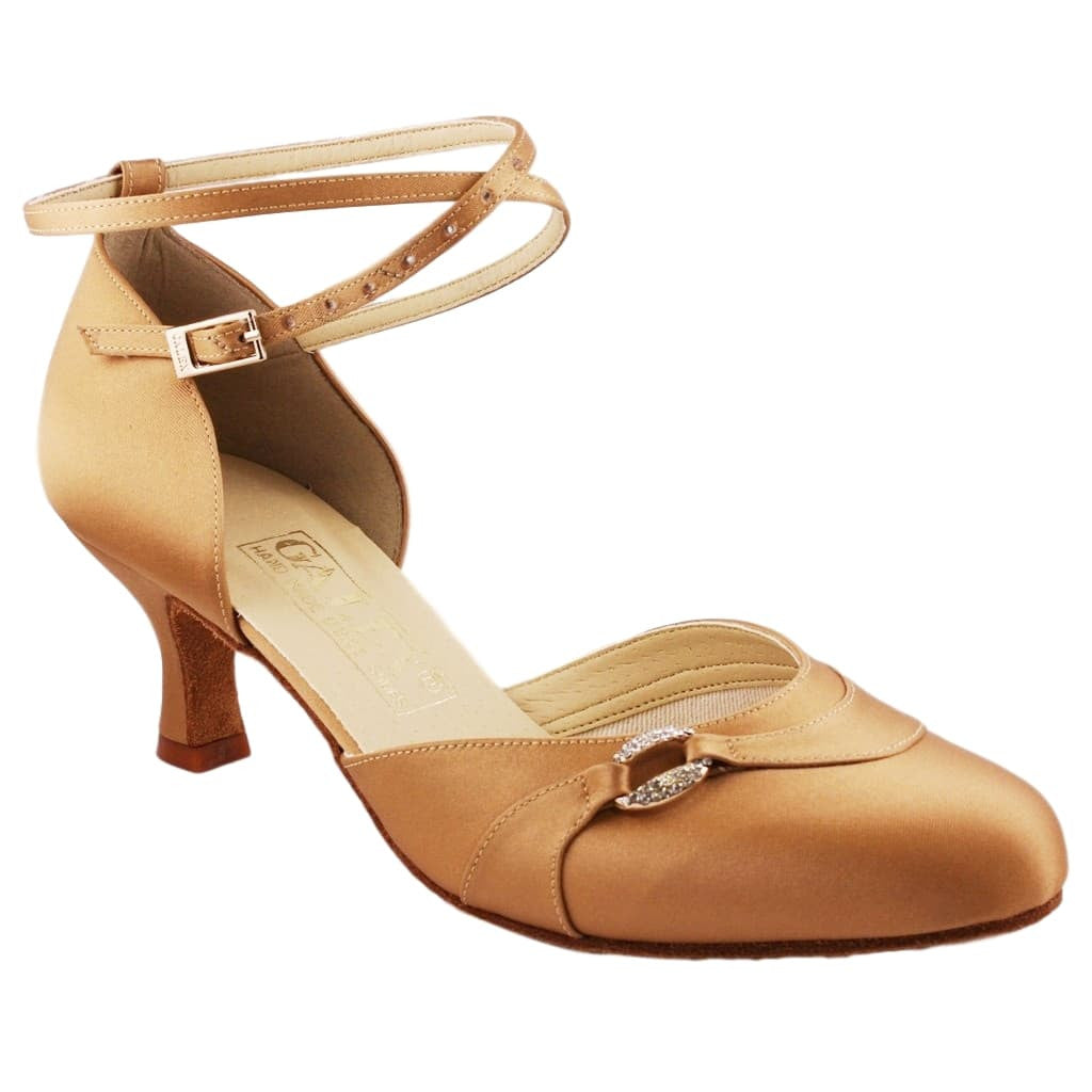 Galex Sofia 6679 Smooth Dance Shoes for Women, Tan Satin, Heel 2 1/4""