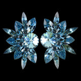 Earrings, Clip-On or Pierced French Clip, Swarovski Aquamarine