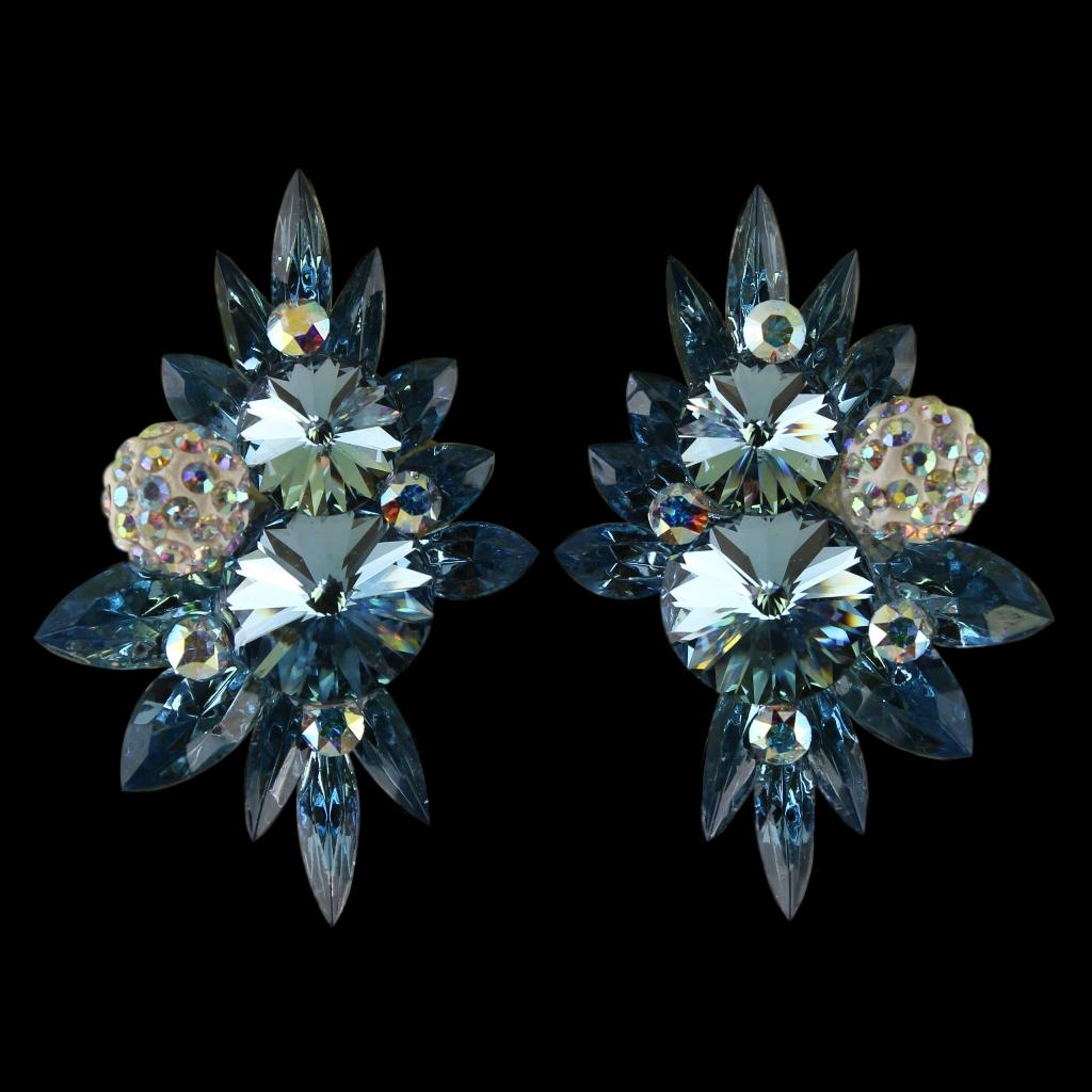 Earrings, Clip-On, Swarovski Aquamarine - Crystal AB